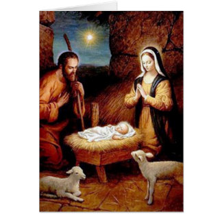 Christmas Manger Realistic Card