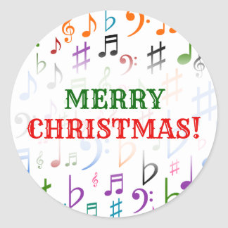 Christmas; Many Colorful Music Notes and Symbols Classic Round Sticker