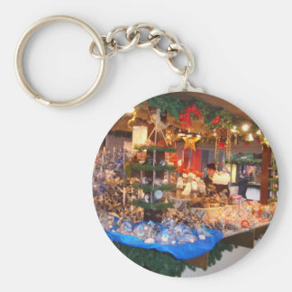 Christmas Market in Hamburg Basic Round Button Key Ring