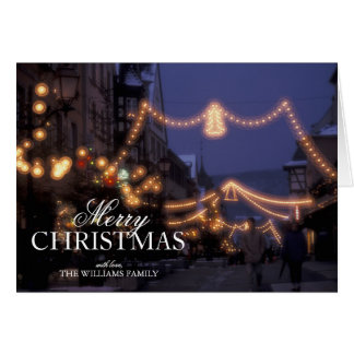 Christmas market lights greeting card