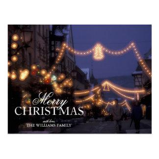Christmas market lights postcard