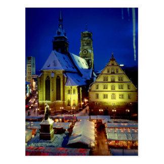 Christmas market, Stuttgart, evening tendency with Postcard