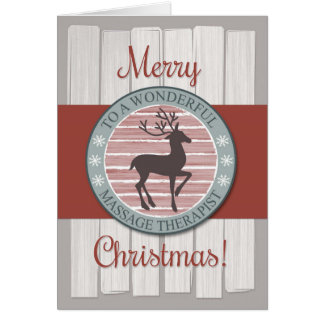 Christmas, Massage Therapist with Rustic Reindeer Card