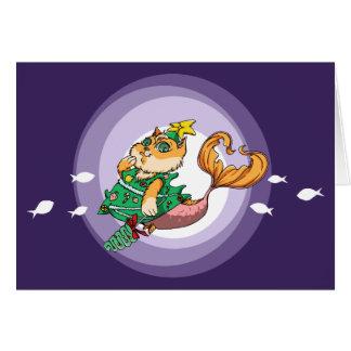 Christmas Mermaid Cat Card