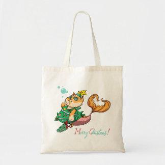 Christmas Mermaid Cat Tote Bag
