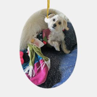 Christmas Mermorkie Oval Ornament