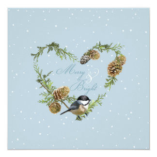 Christmas Merry and bright pine cones Xmas Card