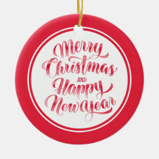 Christmas | Merry Christmas & Happy New Year Ceramic Ornament