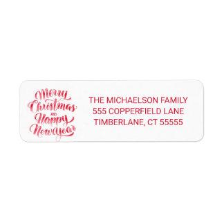 Christmas   Merry Christmas & Happy New Year Return Address Label