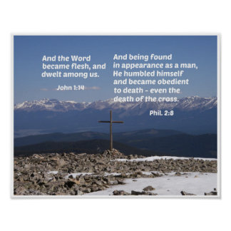 Christmas message with Cross Poster