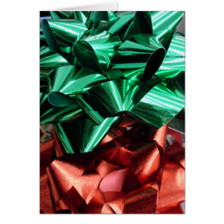 Christmas Metallic Foil Bows (Green & Red) Note Card