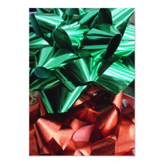"Christmas Metallic Foil Bows (Green & Red) 5"" X 7"" Invitation Card"