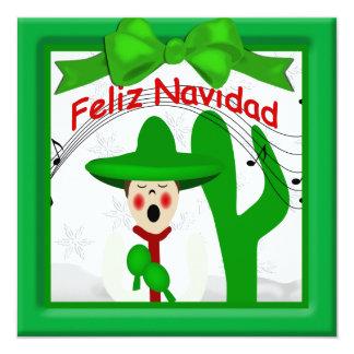 Christmas Mexican Caroler Man Greeting 13 Cm X 13 Cm Square Invitation Card