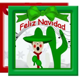 Christmas Mexican Caroler Man Greeting Card