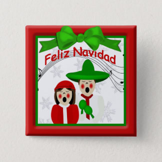Christmas Mexican Carolers Couple Button