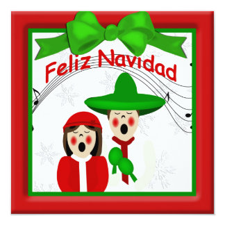 Christmas Mexican Carolers Couple Greeting 13 Cm X 13 Cm Square Invitation Card
