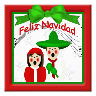 Christmas Mexican Carolers Couple Greeting Personalized Invites