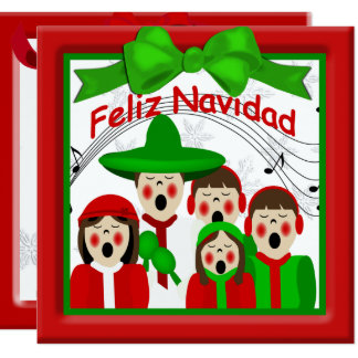 Christmas Mexican Carolers Family Five Greeting 13 Cm X 13 Cm Square Invitation Card