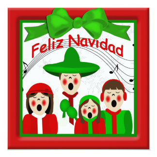 Christmas Mexican Carolers Family Four Greeting 13 Cm X 13 Cm Square Invitation Card