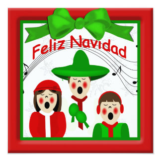 Christmas Mexican Carolers Family Greeting 13 Cm X 13 Cm Square Invitation Card