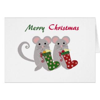 Christmas Mice with Stockings Card