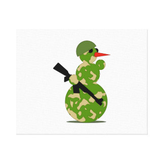 Christmas Military Snowman Stretched Canvas Prints