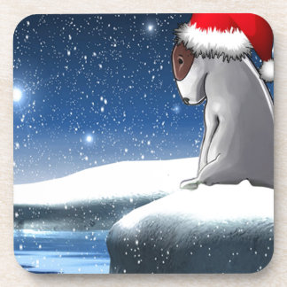 Christmas Milo (The Bull Terrier Puppy) Beverage Coasters