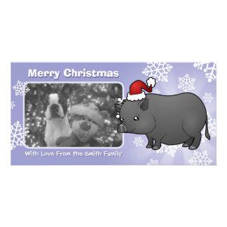 Christmas Miniature Pig Customized Photo Card