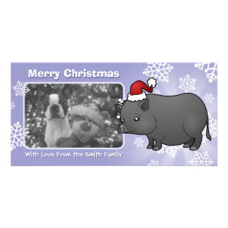 Christmas Miniature Pig Photo Greeting Card