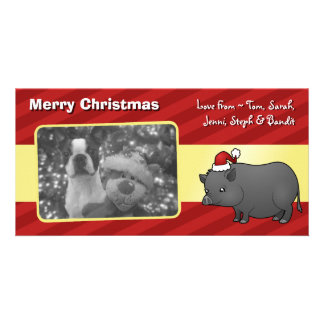 Christmas Miniature Pig Photo Cards