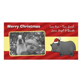 Christmas Miniature Pig Photo Cards