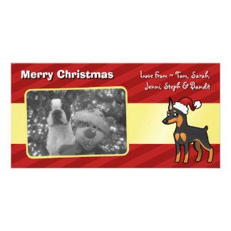 Christmas Miniature Pinscher / Manchester Terrier Customised Photo Card