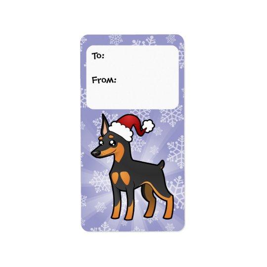 Christmas Miniature Pinscher / Manchester Terrier Label