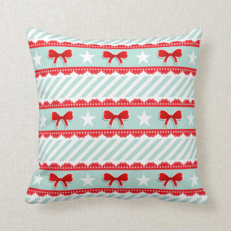 Christmas Mint Stripes Red Bows Stars Pattern Throw Cushions