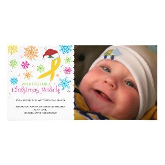 Christmas Miracle - Childhood Cancer Ribbon Custom Photo Card