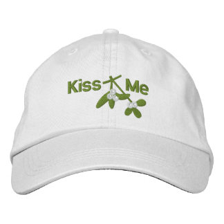 Christmas Mistletoe Kiss Me Embroidered Hat