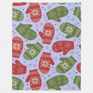 Christmas Mitten Fleece Blanket, Large