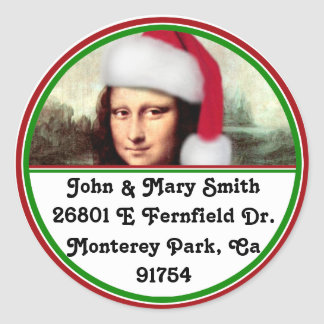 Christmas Mona Lisa With Santa Hat Classic Round Sticker
