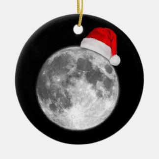 Christmas Moon Round Ceramic Decoration