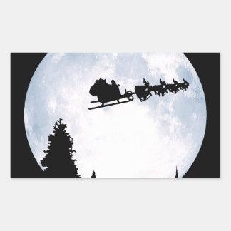Christmas Moon Rectangular Sticker
