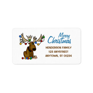 Christmas Moose Address Label
