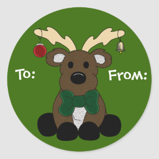 Christmas Moose Gift Tag Round Sticker