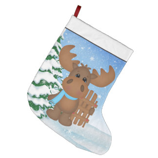 Christmas Moose Holiday cartoon stocking
