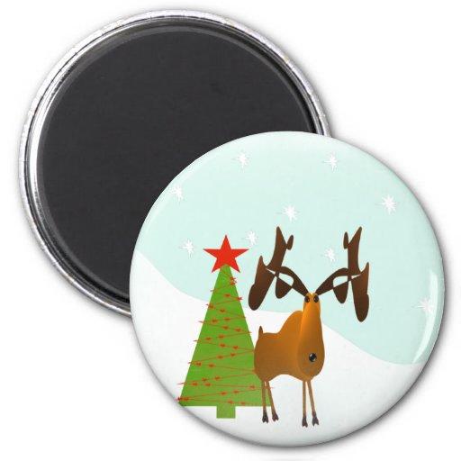 Christmas Moose Fridge Magnet