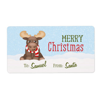 Christmas Moose Personalized Gift Tags / Labels
