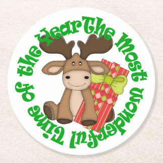 Christmas Moose Round Paper Coaster