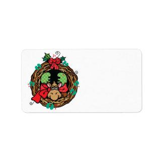 christmas moose wreath design label