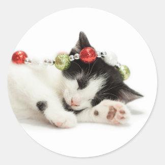 Christmas Morning Kitten Classic Round Sticker