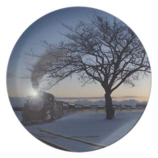 Christmas Morning Train Plate