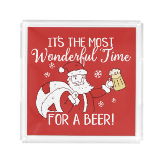 Christmas Most Wonderful Time for a Beer Santa Acrylic Tray